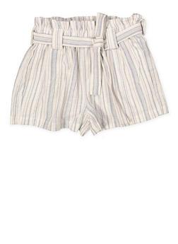 Girls 7-16 Tie Waist Linen Striped Shorts - 1631051060050