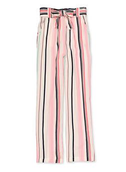 Girls 7-16 Tie Waist Striped Pants - 1631051060060