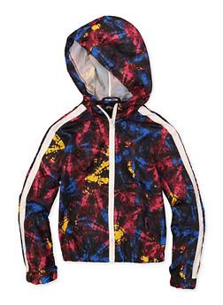 Girls 7-16 Hooded Tie Dye Windbreaker Jacket - 1631051060080