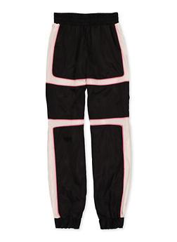 Girls 7-16 Pink Contrast Trim Windbreaker Joggers - 1631051060109