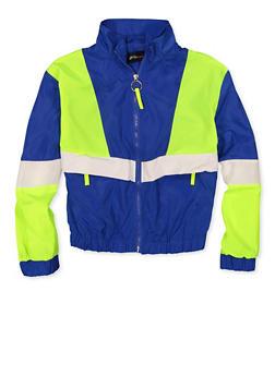 Girls 7-16 Blue Color Block Windbreaker Jacket - 1631051060120