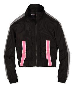 Girls 7-16 Buckled Pocket Windbreaker Jacket - 1631051060128