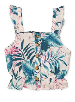 Girls 7-16 Leaf Print Ruffled Top - 1631051060148