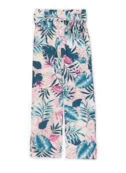 Girls 7-16 Leaf Print Tie Waist Pants - 1631051060149