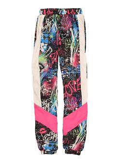 Girls Color Block Graffiti Print Windbreaker Joggers - 1631051060159