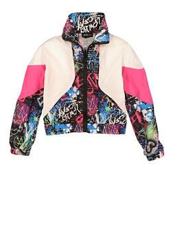 Girls Color Block Graffiti Print Windbreaker - 1631051060160