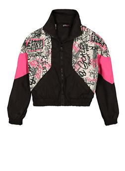 Girls Printed Windbreaker Jacket - 1631051060163