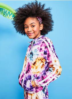 Girls Tie Dye Hooded Windbreaker - 1631051060172