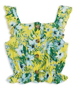 Girls Tropical Print Sleeveless Top - 1631051060189