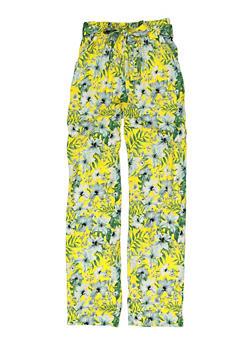 Girls Printed Tie Waist Pants - 1631051060190
