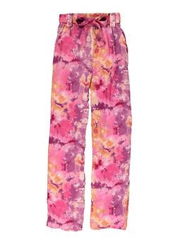 Girls Tie Dye Tie Waist Pants - 1631051060193