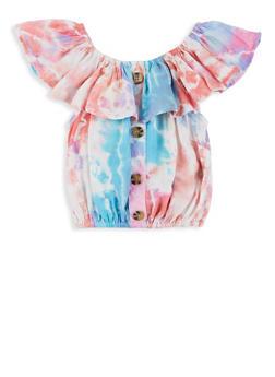 Girls Printed Ruffle Overlay Top - 1631051060198
