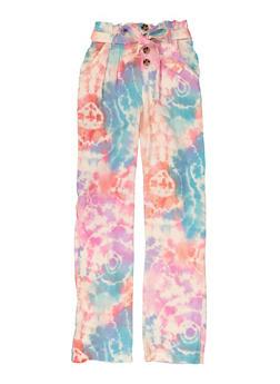 Girls Tie Waist Printed Pants - 1631051060199