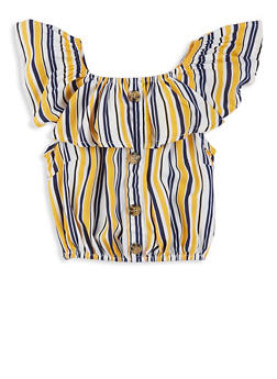Girls Striped Ruffle Overlay Top - 1631051060201