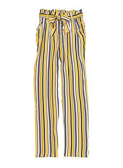 Girls Striped Tie Waist Pants - 1631051060202
