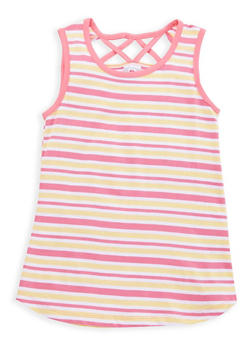 Girls 7-16 Striped Caged Back Top - 1631054730030
