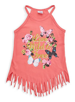 Girls 7-16 Glitter Graphic Fringe Top - 1631054730040