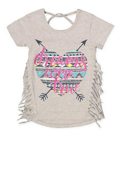 Girls 7-16 Glitter Graphic Fringe Tee - 1631054730050