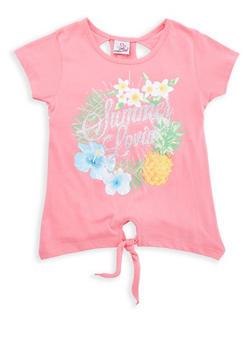 Girls 7-16 Glitter Graphic Tie Front Tee - 1631054730072