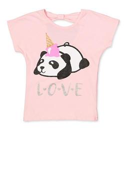Girls 7-16 Glitter Panda Tee - 1631054730081