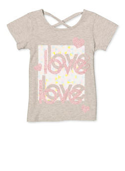 Girls 7-16 Love Caged Back Tee - 1631054730100