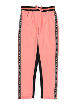 Girls 7-16 Love Tape Trim Track Pants - 1631063370002