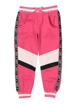 Girls 4-6x Color Block Love Track Pants - 1631063370006