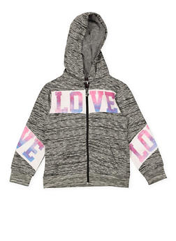 Girls 7-16 Love Graphic Zip Up Sweatshirt - 1631063400002