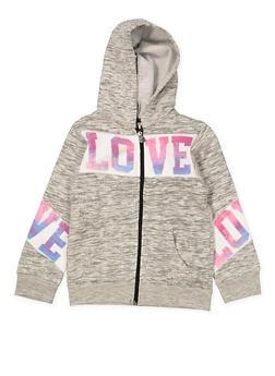 Girls 7-16 Love Zip Up Sweatshirt - 1631063400002