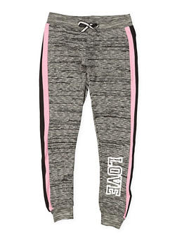 Girls 7-16 Love Striped Side Joggers - 1631063400017