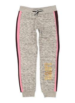 Girls 7-16 Love Striped Side Joggers - 1631063400017