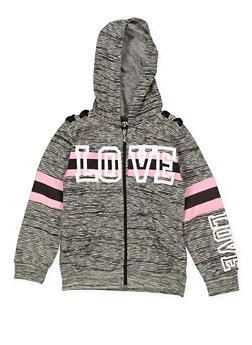 Girls 7-16 Love Lace Up Detail Sweatshirt - 1631063400018