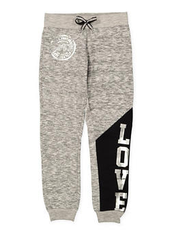 Girls 7-16 Love Foil Graphic Joggers - 1631063400021