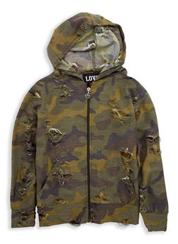 Girls 7-16 Distressed Camo Hooded Sweatshirt - 1631063400056