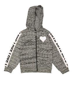 Girls 7-16 Love Heart Zip Up Sweatshirt - 1631063400125