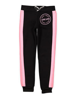 Girls 7-16 Love Striped Side Joggers - 1631063400132