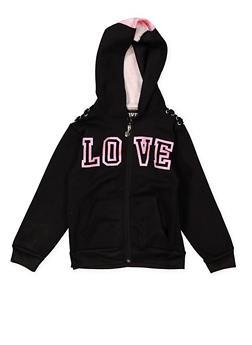 Girls 7-16 Love Graphic Hooded Sweatshirt - 1631063400133