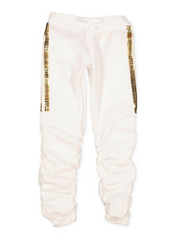 Girls 7-16 Love Foil Trim Ruched Joggers - 1631063400148