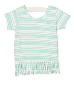 Girls 7-16 Striped Fringe Tee - 1633054730060
