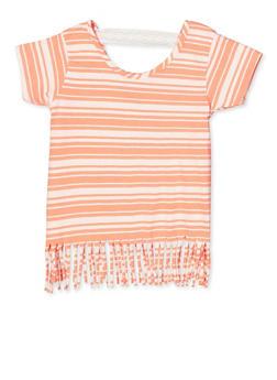 Girls 7-16 Striped Fringe Tee - 1633054730060