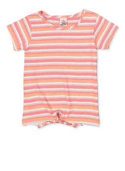 Girls 7-16 Striped Tie Front Tee - 1633054730061