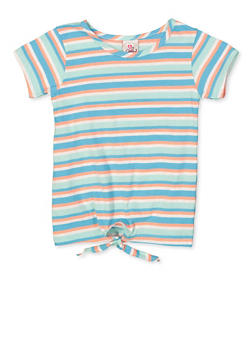 Girls 7-16 Striped Tie Front Tee - 1633054730061