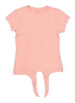 Girls 7-16 Tie Front Tee | Rose - 1633073990003