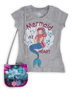 Girls 4-6x Glitter Graphic Tee with Sequin Purse - 1634023130001