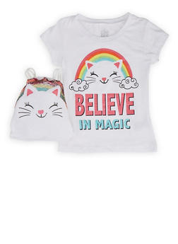 Girls 4-6x Believe in Magic Tee with Drawstring Backpack - 1634023130002