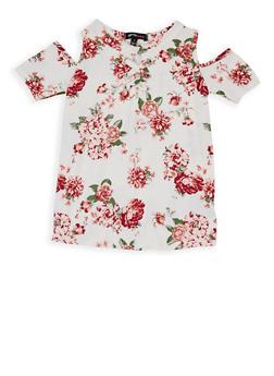 Girls 4-6x Floral Cold Shoulder Top - 1634038340010