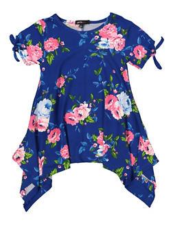 Girls 4-6x Floral Tie Sleeve Asymmetrical Top - 1634038340044