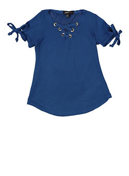 Girls 4-6x Lace Up Tie Sleeve Top - 1634038340048