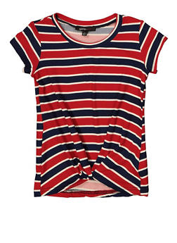Girls 4-6x Twist Front Striped Tee - 1634038340050