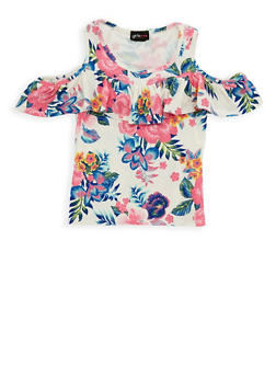 Girls 4-6x Floral Ruffle Cold Shoulder Top - 1634051060001